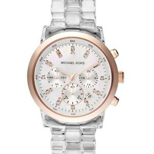 Michael Kors clear/rose gold watch